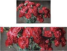 Set di 2 tappetini da bagno con bouquet rosso,