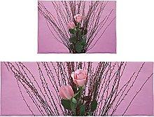 Set di 2 tappetini da bagno con fiori di rosa e