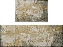Set di 2 tappetini da bagno con fiori dorati,