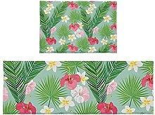Set di 2 tappetini da bagno con foglie tropicali e