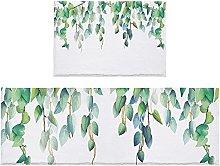 Set di 2 tappetini da bagno con foglie verdi