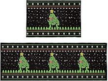 Set di 2 tappetini da bagno con luci di Natale,