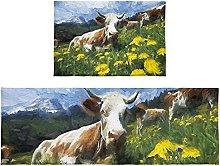 Set di 2 tappetini da bagno con mucca nel campo