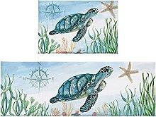 Set di 2 tappetini da bagno con tartaruga marina,