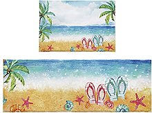 Set di 2 tappetini da bagno estivi per spiaggia,