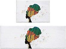 Set di 2 tappetini da bagno per donne africane in