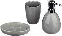Set di 3 accessori bagno grigio in ceramica lucido