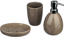 Set di 3 accessori bagno tortora in ceramica