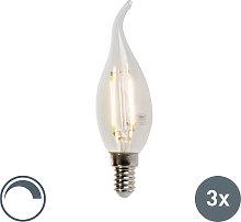Set di 3 lampadine LED filam candela E14 3W 2700K