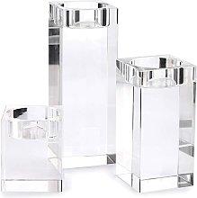 Set di 3 portacandele in cristallo, portacandele