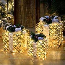 Set di 3 scatole luminose con fiocchi, scatole