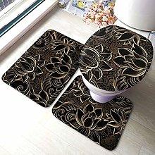 Set di 3 tappeti da bagno boho oro fiori di loto