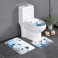 Set di 3 tappeti da bagno con farfalle blu e