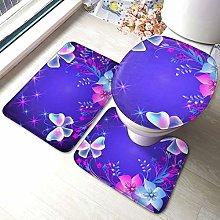 Set di 3 tappeti da bagno con stampa a farfalla,