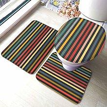Set di 3 tappeti da bagno con stampa a righe,