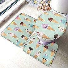 Set di 3 tappeti da bagno con stampa di coni