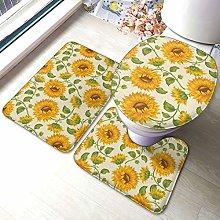 Set di 3 tappeti da bagno, con stampa di girasole,
