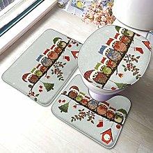 Set di 3 tappeti da bagno con stampa di gufetti