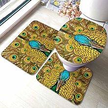 Set di 3 tappeti da bagno con stampa di pavone,