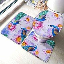 Set di 3 tappeti da bagno, con stampa di pavoni e