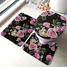 Set di 3 tappeti da bagno, con stampa di rosa nera