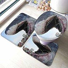 Set di 3 tappeti da bagno con stampa di squalo