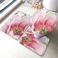 Set di 3 tappeti da bagno, con stampa floreale,