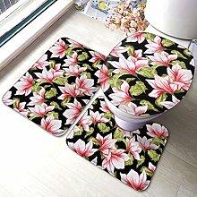 Set di 3 tappeti da bagno con stampa floreale