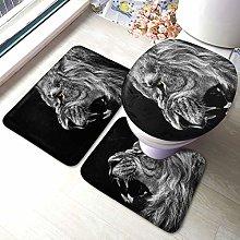 Set di 3 tappeti da bagno con stampa leone
