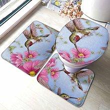 Set di 3 tappeti da bagno con stampa rosa e