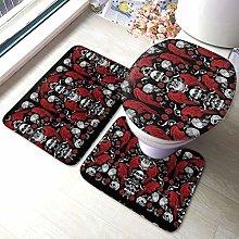 Set di 3 tappeti da bagno con stampa teschio