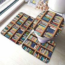 Set di 3 tappeti da bagno, libreria, libreria,