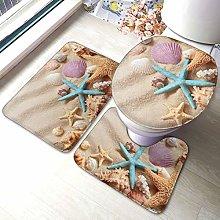 Set di 3 tappeti da bagno, motivo conchiglie con