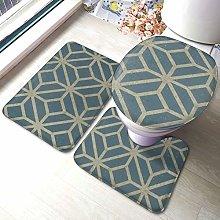 Set di 3 tappeti da bagno, motivo corallo,