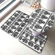 Set di 3 tappeti da bagno, motivo elefante,
