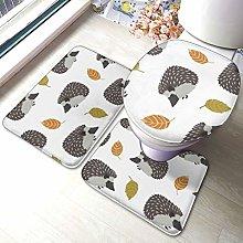 Set di 3 tappeti da bagno, motivo foglie autunnali