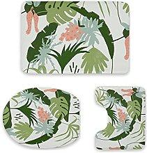 Set di 3 tappeti da bagno, stampa tropicale, fondo