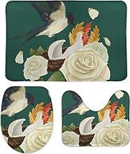 Set di 3 tappetini da bagno, 3 pezzi, con motivo a