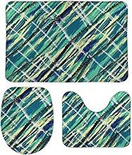 Set di 3 tappetini da bagno, 3 pezzi, minimalista,