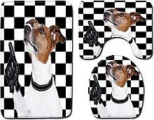 Set di 3 tappetini da bagno antiscivolo con