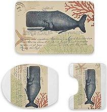 Set di 3 tappetini da bagno, collage di balene,