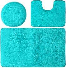 Set di 3 tappetini da bagno colorati antiscivolo