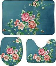 Set di 3 tappetini da bagno con fiori 111 3 pezzi