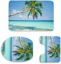 Set di 3 tappetini da bagno, con palme e oceano