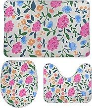 Set di 3 tappetini da bagno con pianta floreale 44