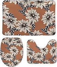 Set di 3 tappetini da bagno con piante di fiori