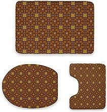 Set di 3 tappetini da bagno, design colorato,