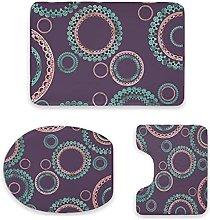 Set di 3 tappetini da bagno, design mandala viola
