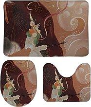 Set di 3 tappetini da bagno, design minimalista, 3