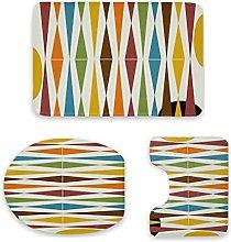Set di 3 tappetini da bagno, design moderno e